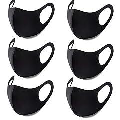 Hombasis マスク 黒 6枚入 ファッションスタイル 綿 20回繰り返して使用可 水洗い可 風邪 花粉対策 秋冬 メンズ レディース
