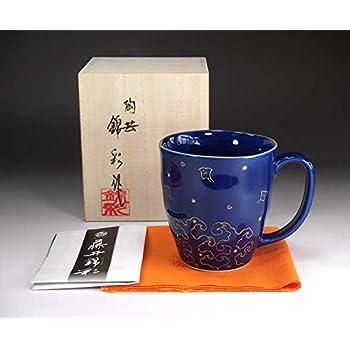 有田焼の陶芸家が丹精込めて造った高級陶器マグカップ|瑠璃釉金彩千鳥
