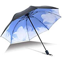 Travel Umbrella for Women Men Folding Travel Sun Umbrella UPF 50+ Windproof Black Glue Anti UV Coating Compact z Durable (Color : 02Blue, Size : One Size)