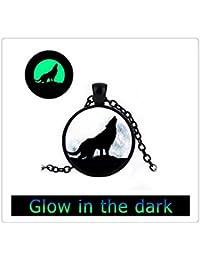 輝くガラスのタイルネックレスウルフネックレス黒のネックレスムーンジュエリーアニマルジュエリーウルフジュエリー
