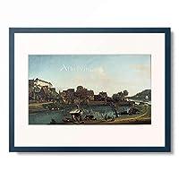 ベルナルド・ベッロット Bernardo Bellotto (Canaletto) and Workshop 「Die Schiffervorstadt in Pirna (Pirna von der Schiffervorstadt aus gesehen), 1753/55.」 額装アート作品