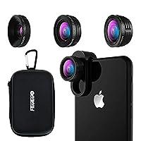 FEGEGO 4K HD スマホ用カメラレンズ 3in1(230°魚眼 、0.65倍広角レンズ 、15Xマクロ) 高画質 独特の合金クリップ iPhone XS/XR/XS MAX/X/8plus/7plus/Samsung/Sony Android スマートフォン多機種対応 (黒)