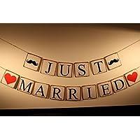 Fuwari ガーランド JUST MARRIED 髭&ハート レトロ 結婚式 前撮り 撮影 髭