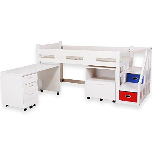 ロフトベッド システムベッド 子供用ベッド 収納ラック付 デスク付 3点セット ホワイト