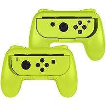 Fintie ジョイコンハンドル 任天堂 Joy-Conハンドル Nintendo Switch Joy-Con グリップ 【2個セット】装着簡単 耐磨 反応素早い ゲームコントローラ (イェロー)