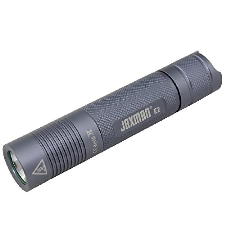 たっぷり創造材料JAXMAN E2 18650 ポケットサイズ EDC グレーボディLED フラッシュライト、Max580 ルーメン/高演色性CRI90,保護等級IPX-6, 5 モード切替、キャンプサイクリングアウトドア用ライト/( 電池含まず)