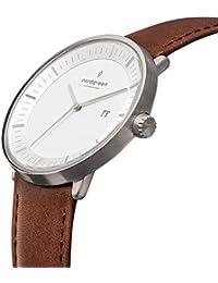 [ノードグリーン]Nordgreen 腕時計 ユニセックス ウォッチ Philosopher シルバー 36mm 北欧 デザイナーウォッチ ブラウンレザーストラップ【2年保証】