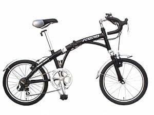 風跳(カザト) ロードタイプ20インチ折畳自転車 KAZATO KZA-RD-206 ブラック 数量限定白色12連LEDライト/10色LEDライト2本付