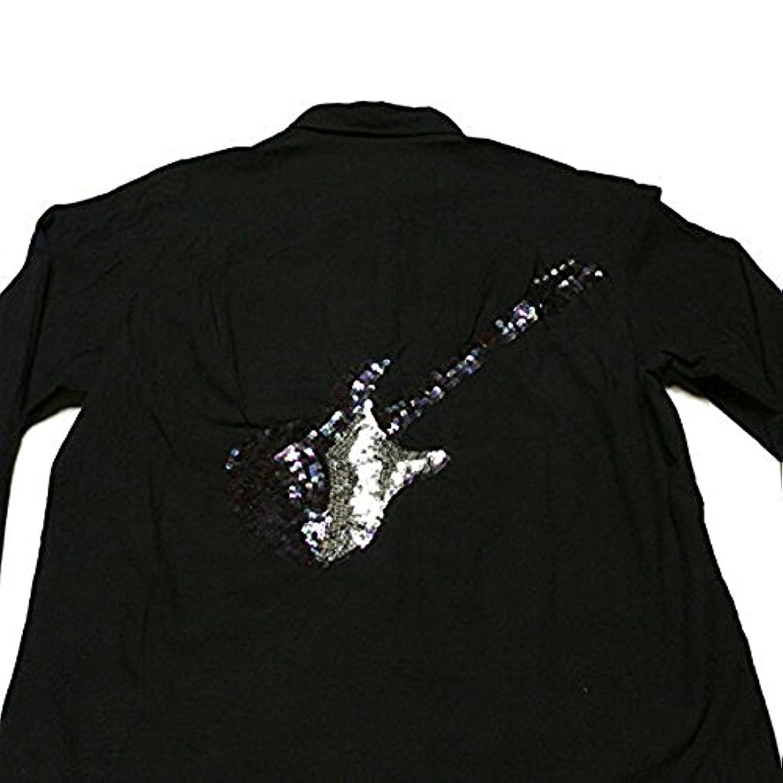 裕福な風刺自己PPFM ピーピーエフエム シャツ Mサイズ 黒 サンプル品 スパンコール クール ギターデザイン