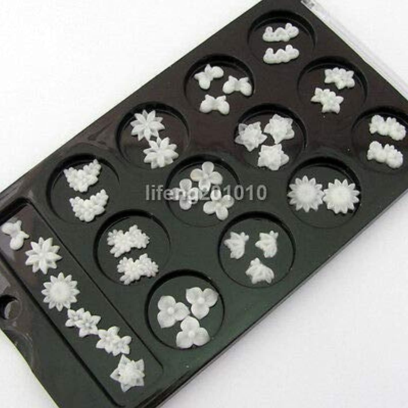 成功する満了教授FidgetGear ネイルアートの装飾の携帯電話の付属品のための60PC白3Dの釘の花のスライス