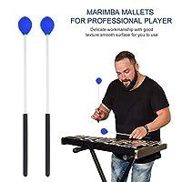 マリンバマレット 1ペア 青色 丈夫 質が良い パーカッションマレット ゴム+グラスファイバー製 Marimba Mallets 楽器アクセサリー