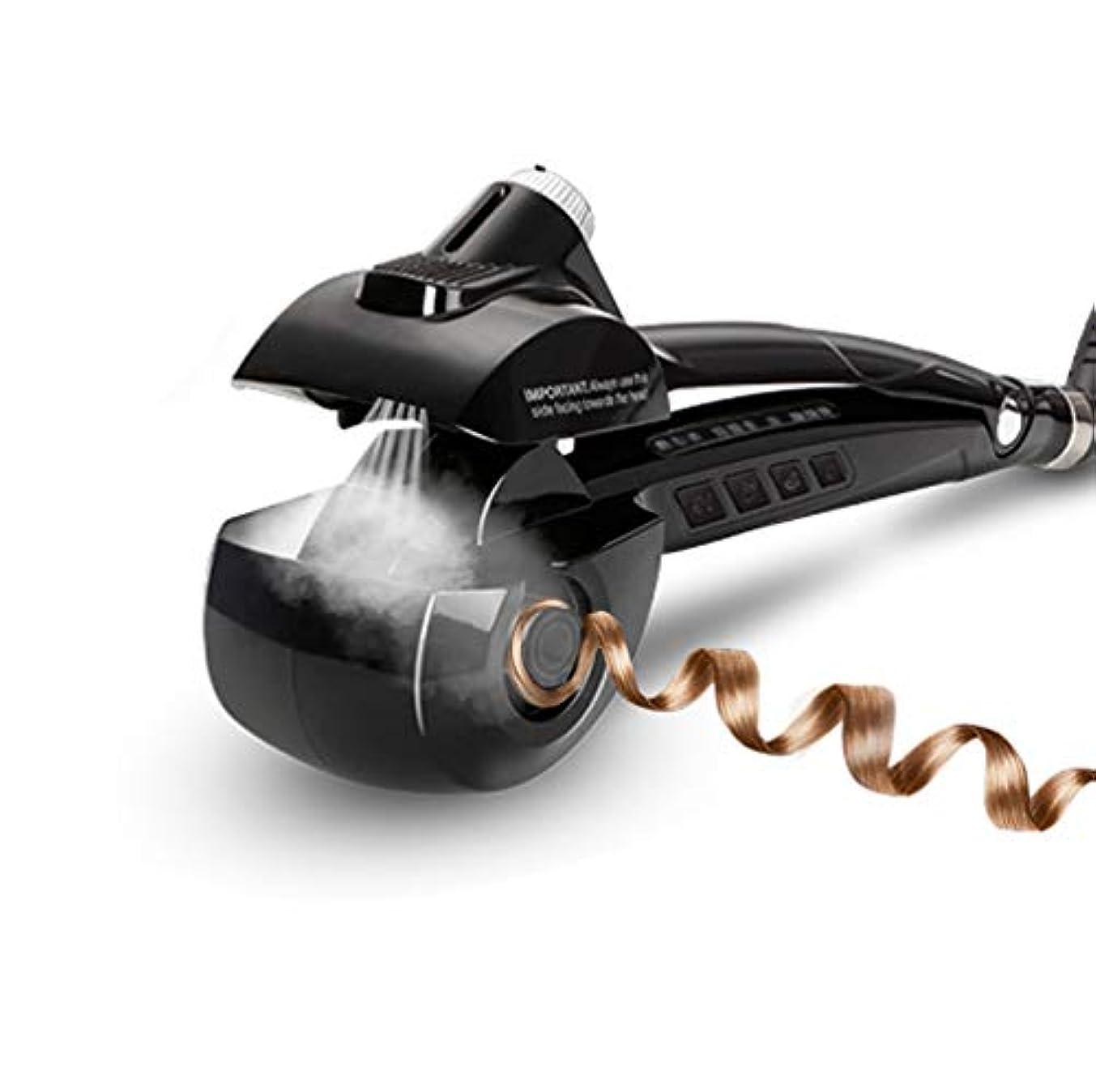 振りかけるコール黒くする女性自動ヘアカーラースチームヘアカーラーセラミックカールマシンアンチもつれヘアスチームセラミックカーリングワンド自動カーリングワンドサロンプロフェッショナルツール