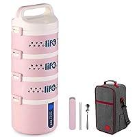 保温弁当箱 お弁当 ランチボックス 多層 保温食箱桶 ステンレスランチジャー 食事箱 お弁当袋付き 食器付き 学校 ピクニックキャンプ (Color : Pink, Size : 4 layer)