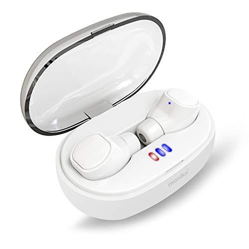 【最先端Bluetooth 5.0 進化版IPX7完全防水】Bluetoothイヤホン Moniko 完全ワイヤレスイヤホン 片耳 両耳対応 ノイズキャンセリング搭載 高音質 フィット感 ブルートゥースイヤホン 超軽量 自動ペアリング iPhoneイヤホン ハンズフリー通話 マイク内蔵 左右分離型 充電ケース付き 長時間連続再生 iPhone&Androidスマートフォン対応 (ホワイト)