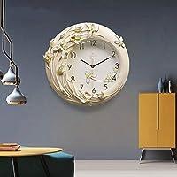 Baibang モダンなシンプルなリースパターンデザイン、環境保護無公害エポキシ陶器シェル、無言運動、サイズ40 * 40.5 Cm クリエイティブ掛け時計