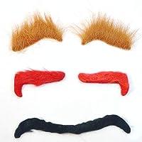 HNJZX 付け眉毛 つけまゆげ 人毛 ウィッグ コスプレ 小道具 メイク 手作り 仮装 コスプレ用ダンス用髭 ハロウィン 仮装 変装 パーティー グッズ コスチューム用小物 3セット
