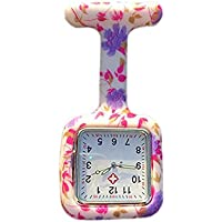 Lovke Square Nurse Watch Colorful Square Orchid Floral Watch Patterned Silicon Nurse Watches