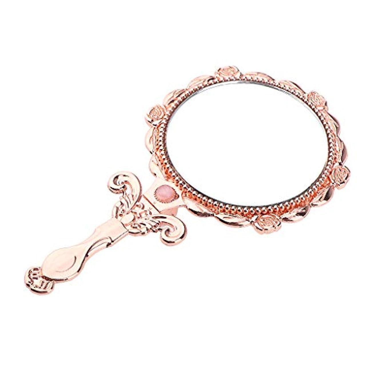 模索プレート着服メイクアップミラー 折りたたみ 化粧鏡 手鏡 軽量 ポータブル 3色選べ - ローズゴールド