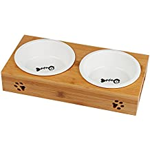 【MINOFOX PET】 Ceramic Pet Dog Cat Food Water Feeder with One Bowl Double Bowls Fixed Wooden Table (Two Bowls)