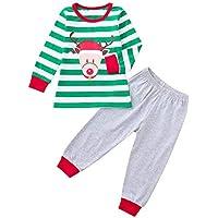 Winsummer コットンアンラープリント クリスマスパジャマセット 家族 幼児 子供 赤ちゃん ユニセックス ストライプ 鹿 トップス パンツ スリーパー 18-24M マルチカラー Winsummer