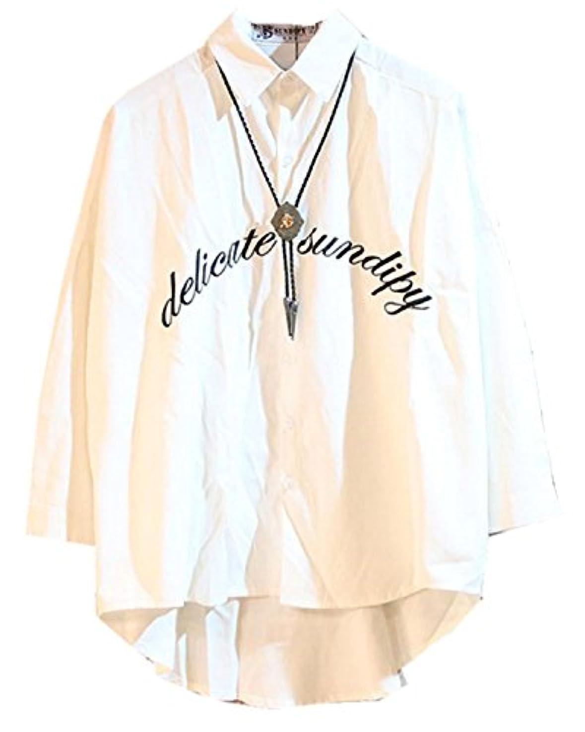 遊具奨学金カウンターパート[ファンノシ]Fanessy メンズシャツ 七分袖 大人気 英語文字 不規則な 復古スタイル ボタンダウン 襟付き ゆったり 無地 長袖 薄手 カジュアル 個性な ボタンシャツ カットソー Yシャツ 大きいサイズ