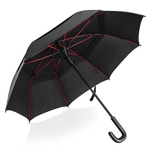 長傘 雨傘 ゴルフ傘 紳士傘 耐風傘 超大直径123cm ワンタッチ自動開き 二重構造空気抜ける 豪雨、強風、悪天候にも恐れない 丈夫 高強度グラスファイバー 晴雨兼用 軽量 梅雨対策 台風対策 専用携帯袋付き