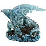 StealStreet Blue Water Dragon on Rock Fantasy Figure Decoration