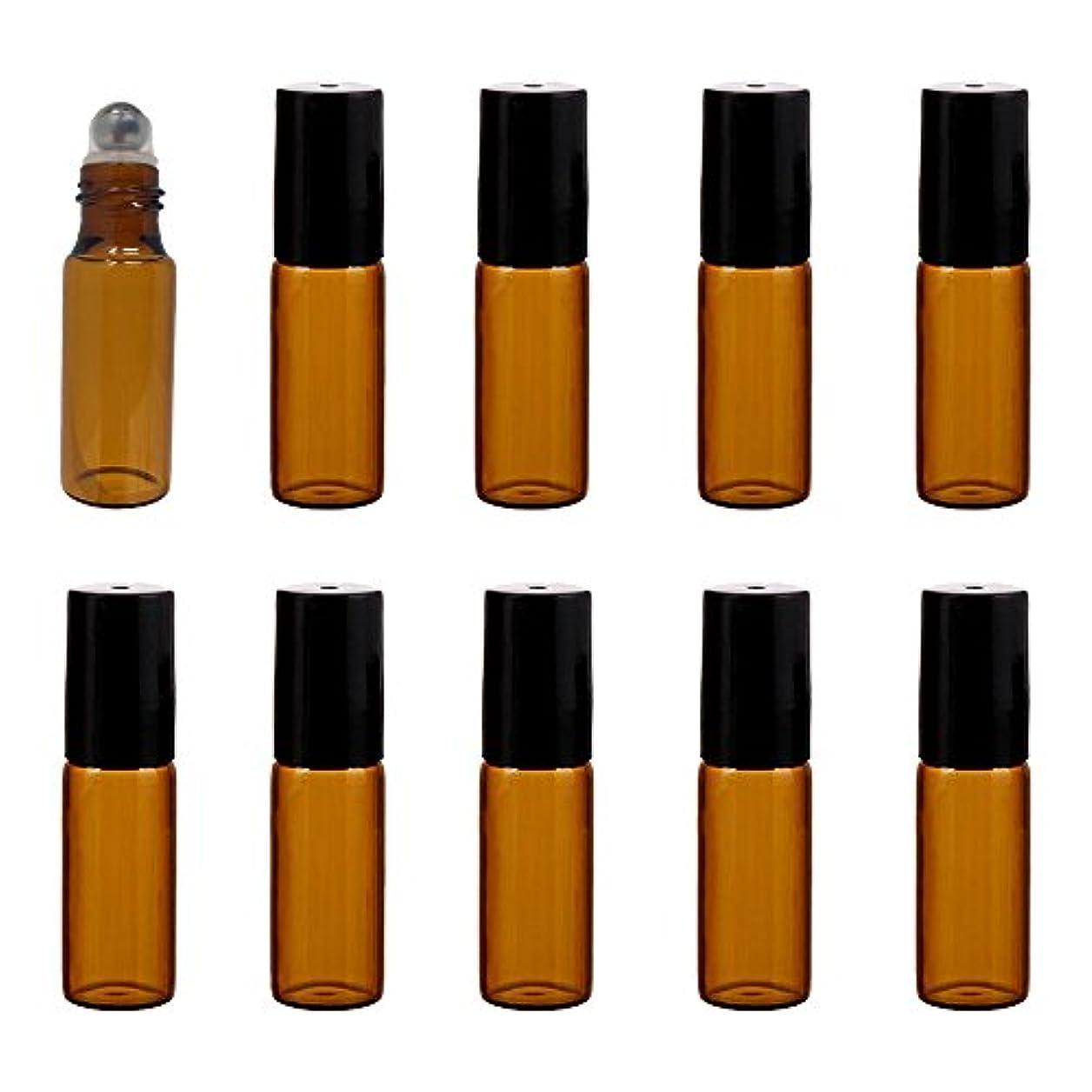 ワーディアンケース煩わしい締める(pkpohs) ロールオンボトル 10本セット 小分け ボトル ガラス 瓶 ロールタイプ ガラスボール アロマオイル 香水 (ブラウン, 5ml)