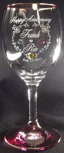 アトリエエイム ワイングラス ピンク 名入れグラス