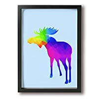 シフゾウ 鹿 色彩 色 フレーム装飾画 絵画 キャンバスアート アートパネル 壁掛け 絵 モダンアート 壁飾り ポスター 壁画 背景 枠付き A4 木製 ファッション