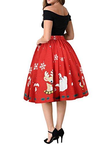 WLLW Women's Vintage Christmas Santa Claus Swing Pleated Flared Skater Skirt Large Red