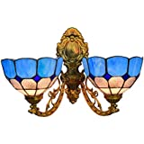 Mediterranean Wall Sconce Lights Tiffany Style Vintage Stained Glass Wall Lamp European 2 Arms Wall Lights for Bedroom Living Room Hallway Balcony, 8-Inch,A