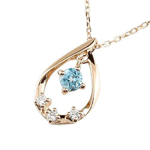[アトラス] Atrus ドロップ つゆ しずく 型 ネックレス ブルートパーズ ペンダント ピンクゴールドK18 18金 ドロップ型 天然石 ダイヤモンド プチネックレス 11月の誕生石