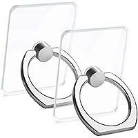【2個入り】透明 薄型 スマホ リング ホールドリング スタンド機能 落下防止 バンカーリング 360回転 iPhone/Android各種他対応 NOLAN BECK (シルバー)