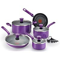 T-fal C511SE Excite Nonstick Thermo-Spot Dishwasher Safe Oven Safe PFOA Free Cookware Set, 14-Piece, Purple by T-fal