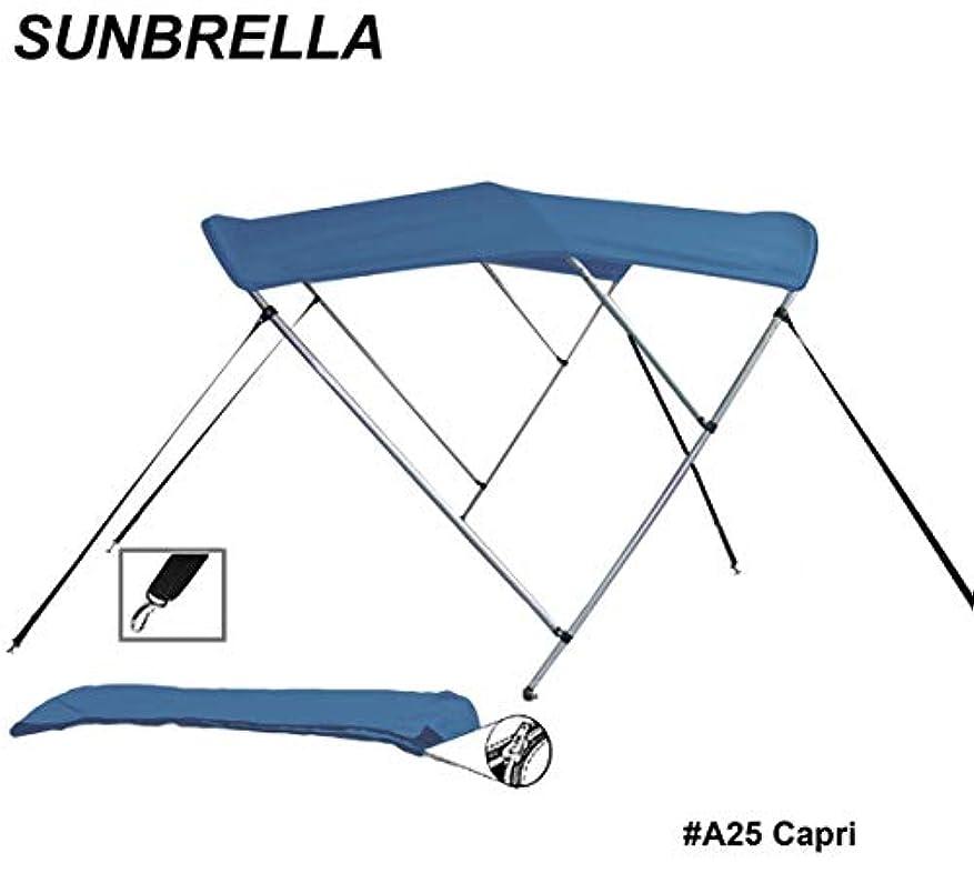 ラウンドチューブ 3ボウ ボート ビミニトップ サンシェード トップ 幅85インチ x 高さ46インチ x 長さ6フィート サンブレラ アクリル アルミニウムフレーム