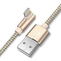 CAFELE ライトニングケーブル lightningUSB充電ケーブル L字型 充電 断線防止 ナイロン編み 1.5m (ゴールド)