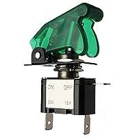 真新しい 12 ボルト 20a照光緑色led トグル の オン/オフ +航空機ミサイル スタイル フリップ アップ カバー