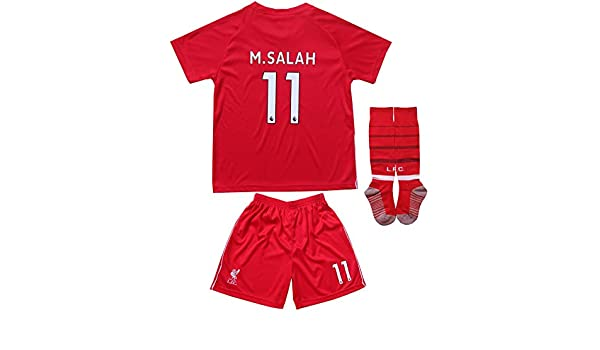 e4e176810 LES TRICOT 2018  2019 Liverpool Home  11 Salah Football Futbol Soccer Kids  Jersey Shorts Socks ...