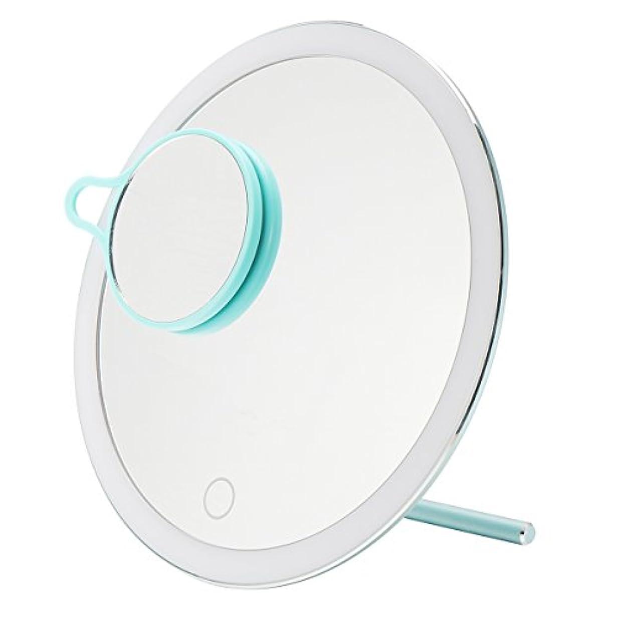 人里離れた降ろすダメージYZUEYT USB LEDライトメイクアップミラータッチスクリーン携帯用拡大鏡バニティテーブルトップランプ化粧ミラーメイクアップツール YZUEYT (Color : Color Blue)
