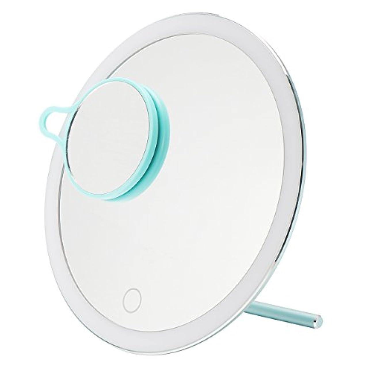 スパークなんとなく特派員YZUEYT USB LEDライトメイクアップミラータッチスクリーン携帯用拡大鏡バニティテーブルトップランプ化粧ミラーメイクアップツール YZUEYT (Color : Color Blue)
