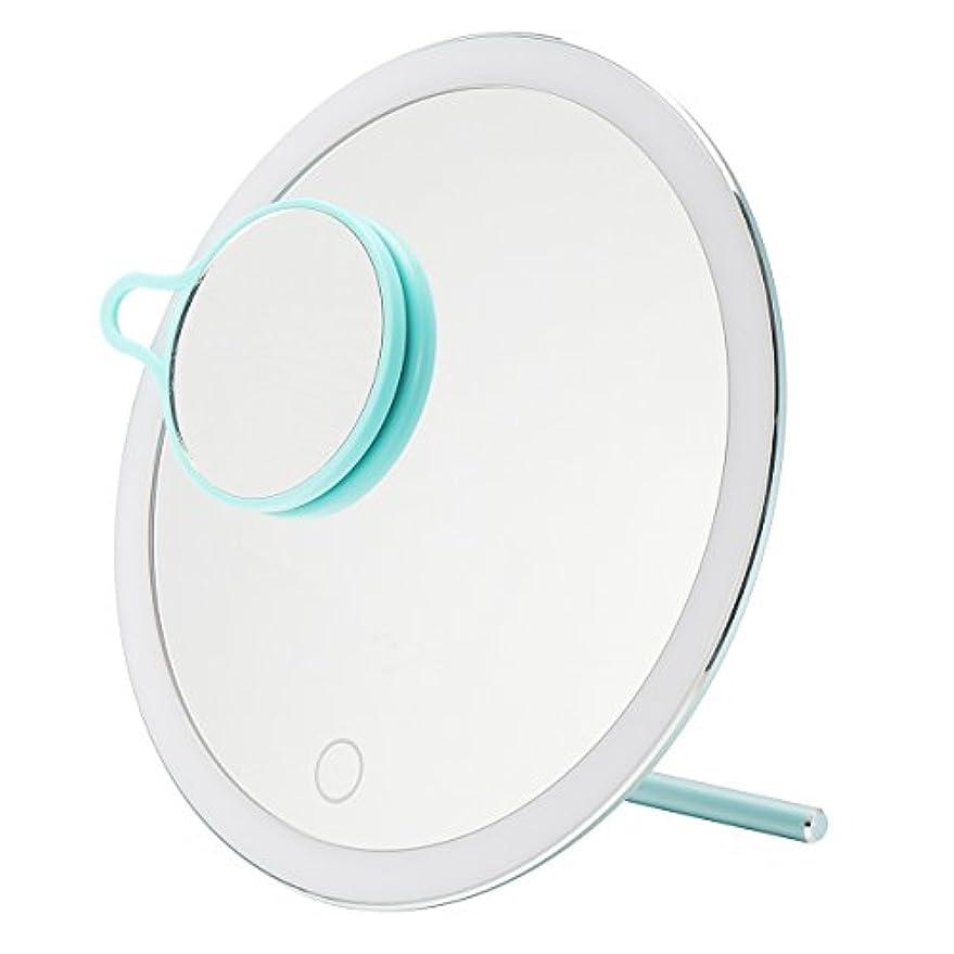 モスク真実操縦するYZUEYT USB LEDライトメイクアップミラータッチスクリーン携帯用拡大鏡バニティテーブルトップランプ化粧ミラーメイクアップツール YZUEYT (Color : Color Blue)