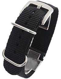 【ブラック 18mm 厚み1.8mm】NATOタイプ ナイロン ベルト ストラップ 腕時計 11Straps【バネ棒外しセット】