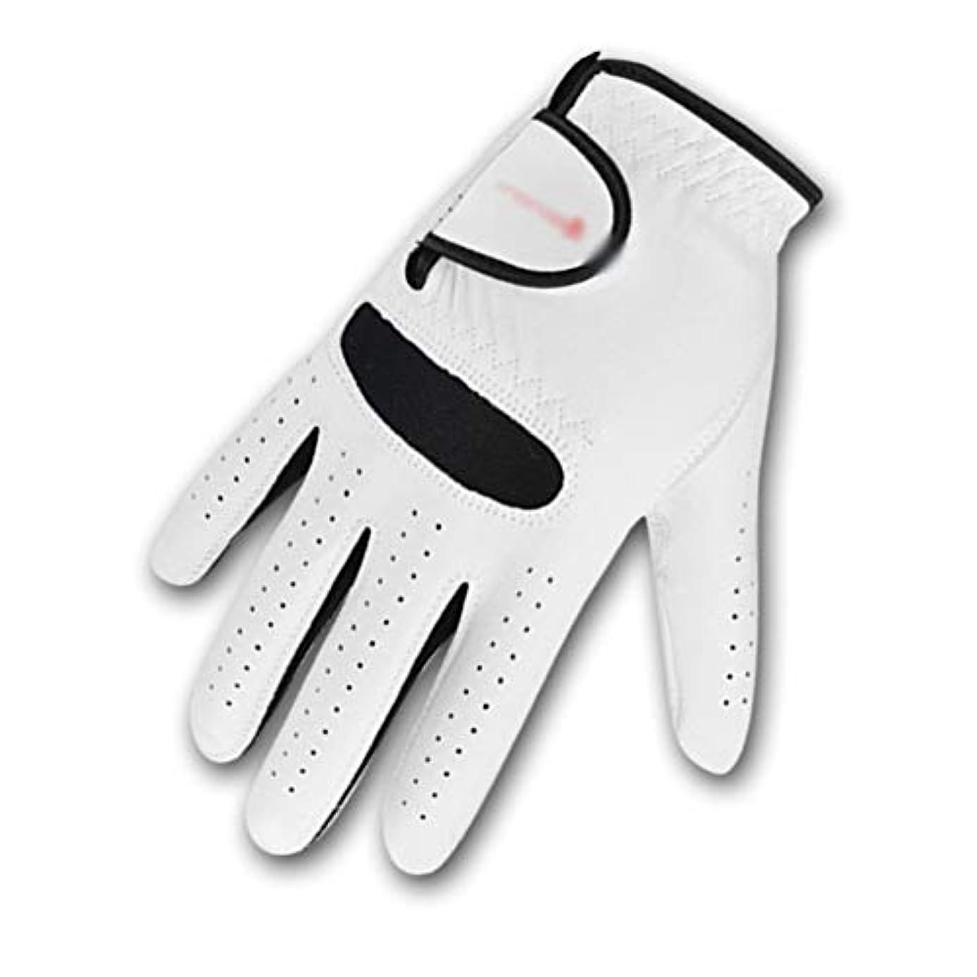 ファセット悲惨な安全性BMY ゴルフグローブコンプレッションフィット安定グリップ本革、ソフト、柔軟、抵抗力のある快適さ - 1のパック(ホワイト) - L
