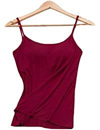 Foncaz インナーキャミソール レディース 綿 インナーウェア ブラ付き カップ 肩ひも 無地 吸汗通気 柔らかフィット 肌触り良い 快適