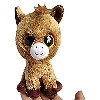 JEWH Ty ビーニーブーズ コレクション - 大きな目 ぬいぐるみ 動物 ソフトトイ バディトイ (茶色の馬)