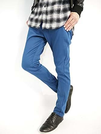 (モノマート) MONO-MART 裏起毛 ボンディングパンツ スキニー チノパンツ ストレッチ 暖かい パンツ カラー メンズ 【スリム】ディープブルー Lサイズ