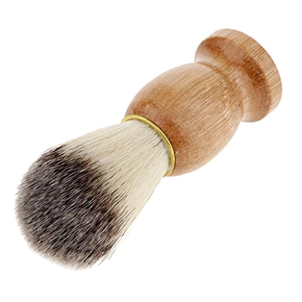 ガラスパーツ廃止シェービングブラシ コスメブラシ 木製ハンドル メンズ ひげ剃りブラシ プレゼント