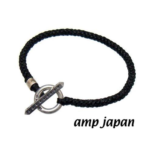 amp japan/アンプジャパン 15AH-425 ブラック Tバー ブレード ブレスレット【レザー調 編みこみ ワックスコード】