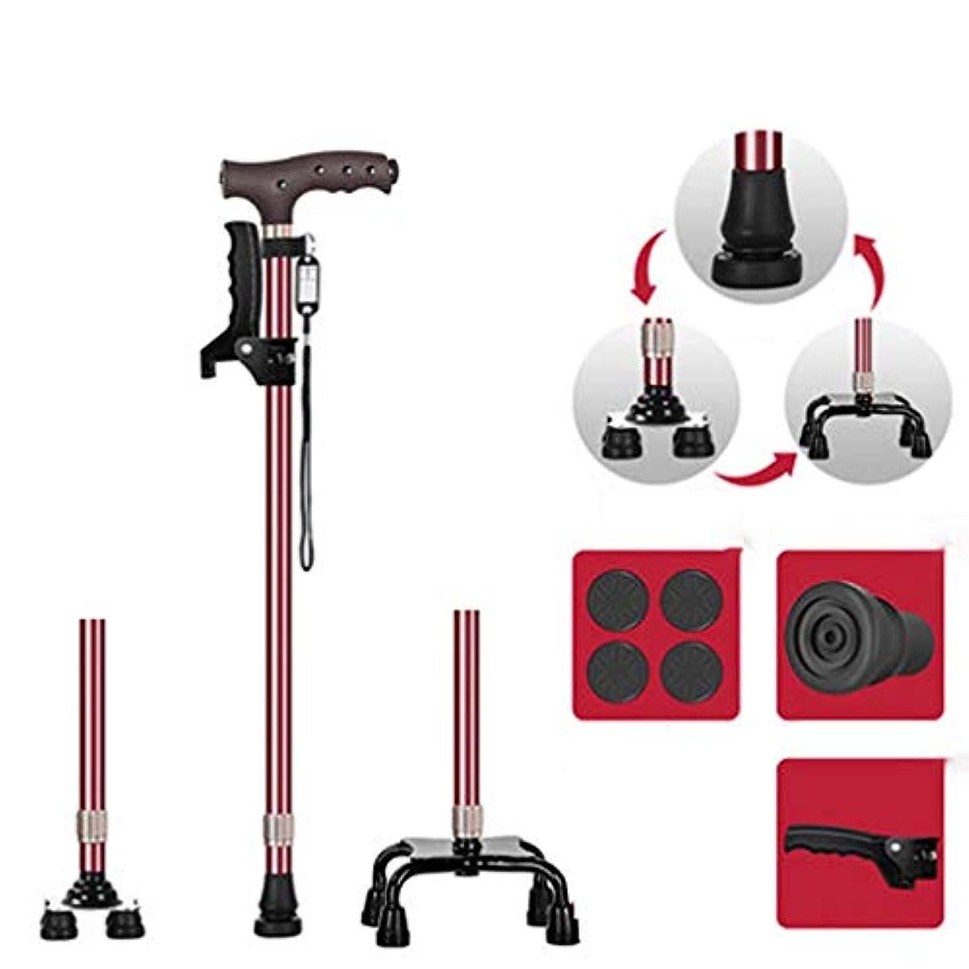 健全動機考慮杖依存性調整可能高さ軽量折りたたみ歩行杖杖内蔵LEDライトノンスリップ,D